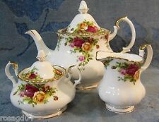 Royal Albert Old Country Rose Large Tea Pot Lidded Sugar Bowl Creamer Bone China