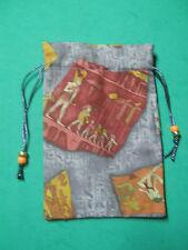 """EGYPTIAN IMAGES TAROT CARD BAG -5"""" X 6 1/2""""-GRAY SILK LINING"""