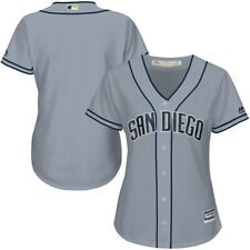 Majestic Womens San Diego Padres Cool Grey Blue MLB Cool Base Jersey Sz M Medium