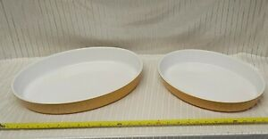 Two Emile Henry of France -Mustard Yellow Oval/Casserole Dish's 13x9x2 & 14x10x2