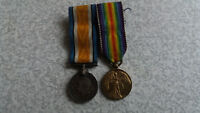 PAIR OF VINTAGE MILITARY WORLD WAR ONE MINIATURE MEDALS AND RIBBONS