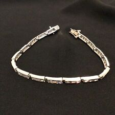 Beautiful Silver Linked Bracelet with Clear Stones Marked 925 #665
