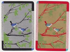 2 Single VINTAGE Swap/Playing Cards BIRDS ON BRANCHES DECO Gold/Silver