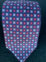 Etro Blue Red Geometric Patterned Silk Tie Made in Italy