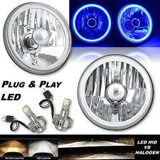 5-3/4 Blue COB LED Halo Angel Eye Crystal Clear Headlamp 6k LED Light Bulb Pair