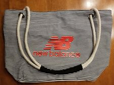 Designer New Balance Brand Canvas Tote Gym Eco Grocery Book Striped Top Zip Bag