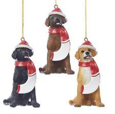 Chocolate Labrador Resin Santa Ornament 3.9 Inches