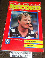 VFL RECORD AUGUST 24 1985 (HAWTHORN V CARLTON) -EXCELLENT CONDITION-