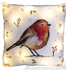 LED light up Winter Robin 40cm Cushion with inner Christmas festive decoration