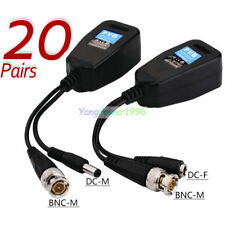 20 Pairs CCTV Coax BNC Connector Video Power Balun Transceiver to CAT5e 6 RJ45