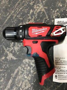 "NEW Open Box Milwaukee 2407-20 M12 12V Li-Ion 3/8"" Drill Driver Bare Tool"
