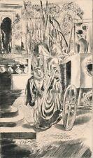 gravure originale Hermine David princesse Clèves 1943 edition anglaise carrosse