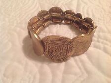 Chico's Brand Stretch Bracelet Large Gold Colored International Coins One Size