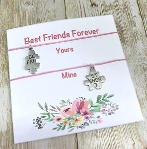 2 Best Friends Wish Bracelets Friendship BFF Puzzles Charm Pink Tag Xmas Mates