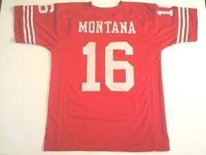 UNSIGNED CUSTOM Sewn Stitched Joe Montana Red Jersey - M, L, XL, 2XL, 3XL