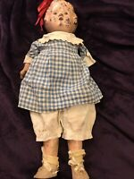 Antique Tin Headed Composition Doll With Head Loop For Bow Missing Arm