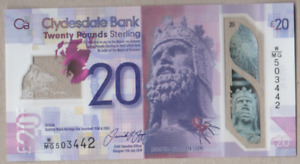 CLYDESDALE BANK NEW POLYMER £20 UNCIRCULATED VARIOUS PREFIX FREEPOST UK