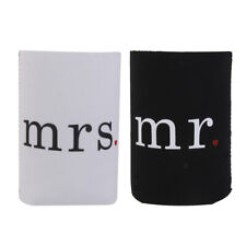 Stubby Beer Can Stubbie Cooler Sleeve Holders Cover Wedding mr mrs Heart