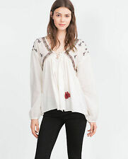 ZARA AW15 WHITE off Flowing Top Shirt Tribal Embroidered size  M REF. 5598/270