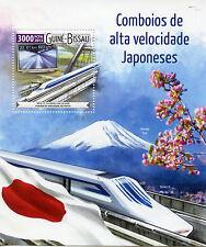 Guinea-Bissau 2015 MNH High Speed Trains Japan 1v S/S Railways Mount Fuji Stamps