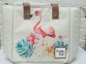 Fridge Pak Fully Insulated Cooler Lunch Tote Orange Flamingo Print 13x9.25x6