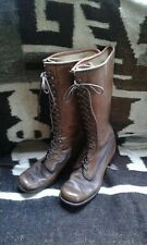 VINTAGE FRYE  LACE UP LOGGER BOOTS   WOMANS 9.5 BLACK LABEL