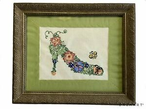Breathtaking 100% Hand Embroidered Matted, Framed Shoe Art One Of A Kind Design!