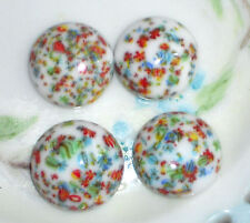 Vintage Glass Millefiori Cabochon Round Mosaic Cane End Of Day 18mm White #1276