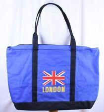 "London British Flag Blue Nylon Zippered Tote Bag by Lambert 22.5 x 15.5 x 4"""