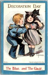 """1909 DECORATION DAY Patriotic Postcard """"Blue and the Gray"""" Artist-Signed BUNNELL"""