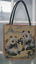 Large Panda purse tote handbag cloth tapestry bamboo blue beige ladies womens
