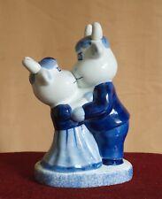 Delft peint à la main bleu et blanc Horny vaches Kissing Figurine en porcelaine 245