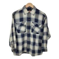 Womens Ladies Levis Blue Plaid Check Long Sleeve Flannel Shirt Size Large