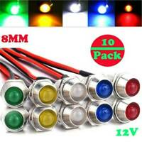 10 Pcs 12V 8mm LED Indicator Light Lamp Bulb Pilot Dash Panel Car Truck Boat Kit