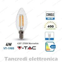 Lampadina led V-TAC 4W = 40W E14 bianco caldo 2700K VT-1985 a candela filamento