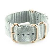 StrapsCo Grey 5 Ring Nylon Watch Strap Band w/ Rose Gold Rings