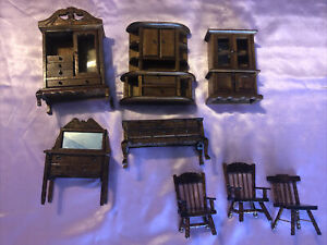 Vintage Lot of 8 Miniature Mini Dollhouse Wood Furniture Chairs China Cabinets