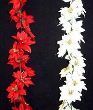 Christmas Decoration Artificial Poinsettia Xmas Garland Decoration 1.8m 6ft