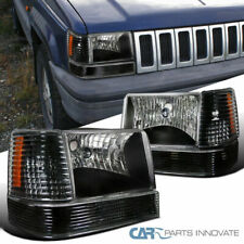 For 93-96 Jeep Grand Cherokee SUV Black Headlights w/ Bumper Corner Lamps Pair