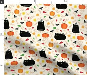 Ravens Autumn Halloween Cats Spooky Pumpkins Spoonflower Fabric by the Yard