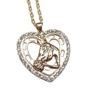 Pendant Necklace Heart And Head Horse Golden with Rhinestone