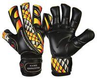 Football Goalkeeper Gloves Flat Cut Prime Fire Black Finger Save Goalie Gloves