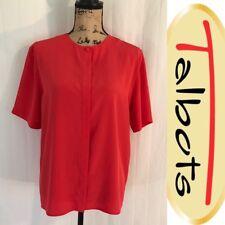 TALBOTS Red Silk Blouse Top Short Sleeved Shirt - Women's Size 12