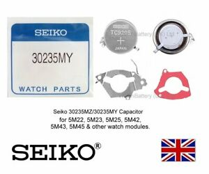 Seiko Capacitor Kinetic Battery 30235MZ/5MY for 5M22 5M23 5M25 5M42 5M43 -TC920S