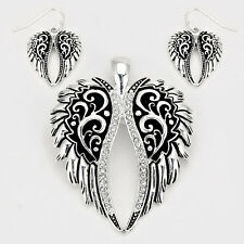 Angel Wings Pendant Earrings Set Feather Rhinestone Trim Filigree Hope SILVER