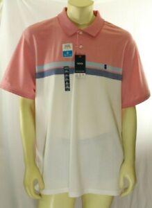 IZOD Men's Advantage Classic-Fit Pink White Performance Polo Shirt Size XXL