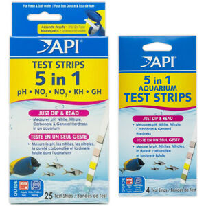 API 5 in 1 AQUARIUM WATER TEST KIT DIP 25 STRIPS FRESHWATER SALTWATER FISH TANK
