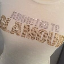 Victorias secret pink t-shirt burn out E.VIL Rare!! Addicted to Glamour Small
