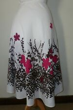 HOBBS FLORAL FLARE WHITE PINK BROWN LINEN SIZE 8