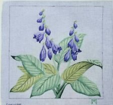 """hand painted needlepoint canvas 10ct Hosta flowers 15x15"""""""